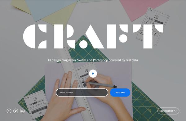 Đến từ InVision, Craft là một UI plugin cho Sketch và Photoshop. Trang web cung cấp video đẹp và animation miêu tả nét nổi bật của sản phẩm.
