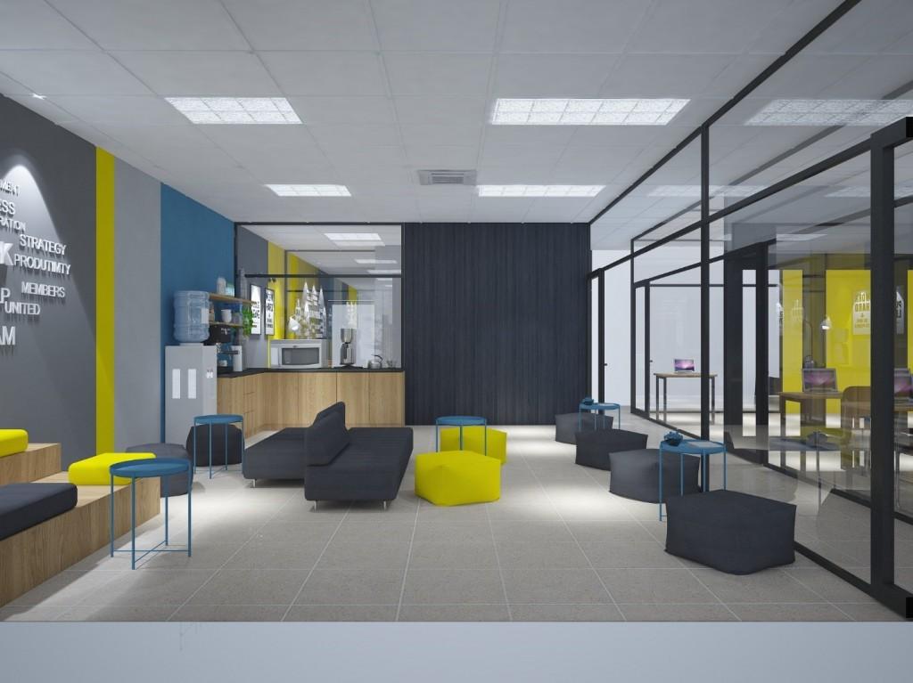Hướng nhìn từ khu sinh hoạt chung tới khu Pantry và phòng tư vấn. Từ đây có thể nhìn thấy hành lang cùng các phòng đa năng.