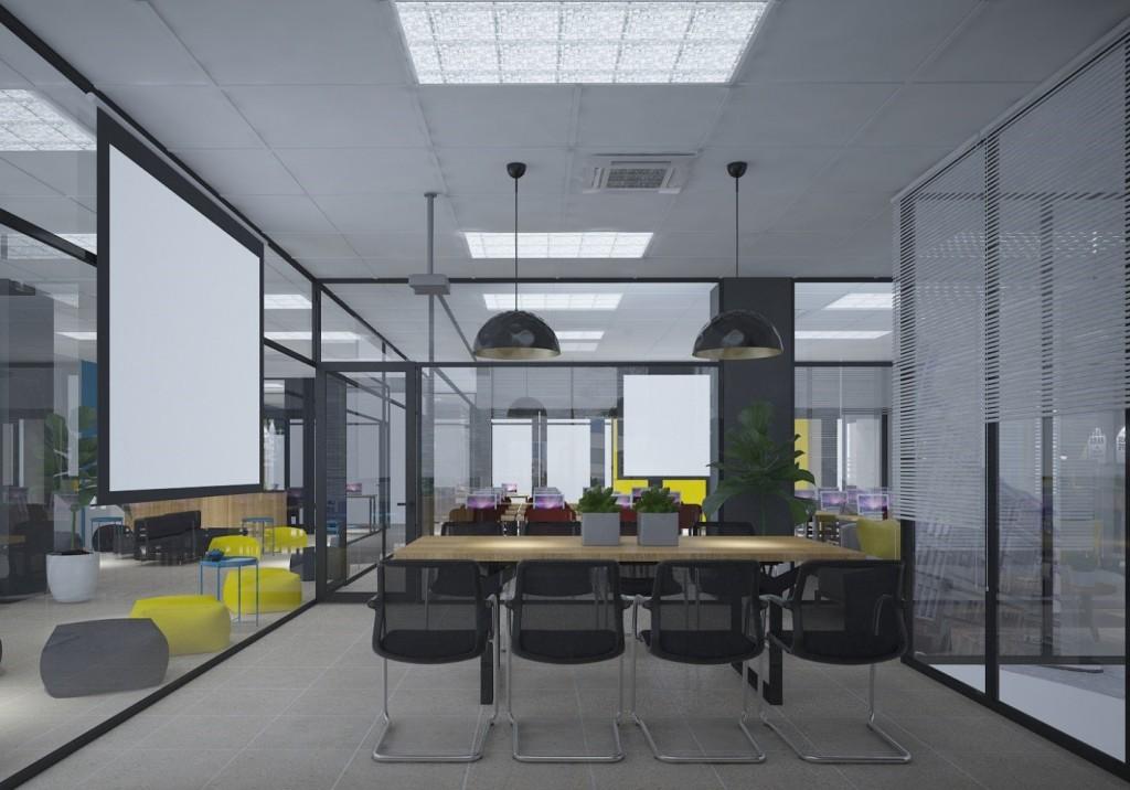 Phối cảnh phòng đa năng sẽ linh hoạt trong việc sử dụng học tập cho sinh viên và khi cần thiết cũng sẽ có thể set up thành phòng họp dành cho nhân viên.