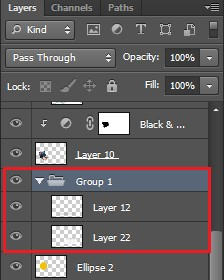 Tạo nhóm layer bằng phím tắt Ctrl + G