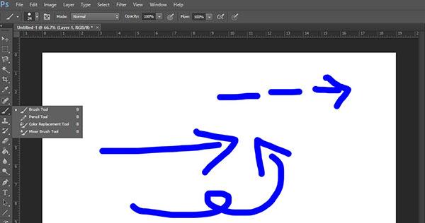 vẽ mũi tên trong photoshop