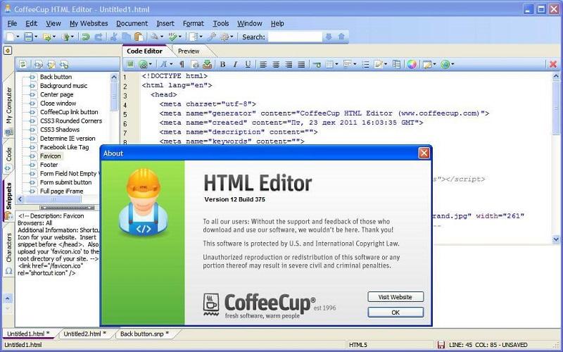 Phần mềm thiết kế web đơn giản CoffeeCup Free HTML Editor