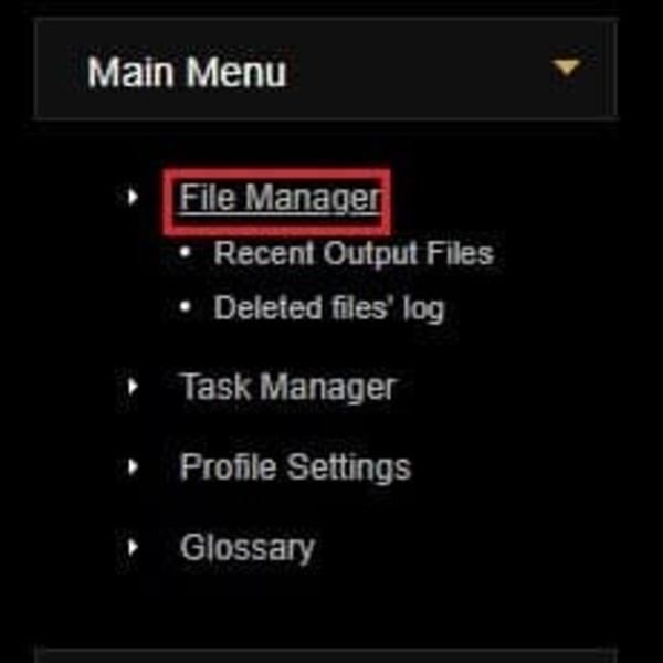 Chọn File Manager để truy cập vào trang quản lý file cá nhân